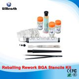 Direct Heat Stencil Game consoles 19 pcs + solder balls, flux, scraper, brush, tweezer BGA reballing kit