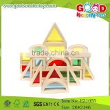 2015 New Design Handmade Acrylic Wooden Rainbow Blocks Toys for Child OEM/ODM Castle Building Block set                                                                         Quality Choice