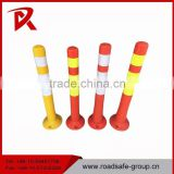 Spring post warning sign bollard / flexible delineator guide post