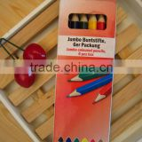 colors pencil / triangle Jumbo color pencil /6 pc jumbo color pencil in paper box /kids gift