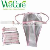 Disposable Hotel non woven woman's bikini with elastic, pants, underwear, briefs, T-Back, boxers, g-string