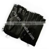Lace design summer black leather girls fingerless gloves