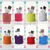 Charger Cable Fabric braided wire USB Data Sync cloth Woven Fiber Knitted 1M 2M 3M Colorful Nylon Cords for Android Smart Phone
