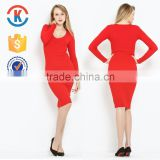 Latest popular Chinese long sleeve one-piece red dress