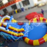 2016 popular inflatable swimming pool rental trampoline with slide
