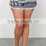 Summer plus size shorts for fat women, border print and loose fit beach board shorts SYK15337