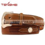 Men's Scalloped Overlay With Concho Leather Arrow Lacing Western Genuine Leather Belt