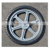 14x1.75 inch semi pneumatic rubber wheel with diamond tread and gray plastic rim for mowers or material handling equipment