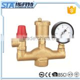 "ART.5077 Forged 1/2"" 3/4"" boiler parts automatic brass material water heater air vent safety valve with manometer"