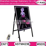 A frame led writing board - free standing advertising chalkbaord - chalk or liquid chalk writing menu