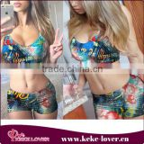 2015 new arrival fashion boxer shorts swimwear sexy colorful swimwear for women muslim two-piece bikini swimwear wholesale