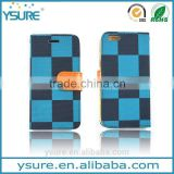 Blue Chess Pattern Fabric Wallet Leather Phone Case For Alcatel One Touch POP C7 with PVC ID and credit card slots