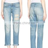 2014 100% Cotton Washed Distressed Hot Boyfriend Denim Pant Light Blue Women Jeans Wholesale Price China