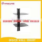 aluminum alloy 2 layers DVD glass shelf dvd wall mount set top box stand