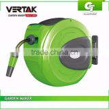 Retractable Hose Reel with Connector and Fitting, 20M Wall Mounted Hose Reel, Plastic Hose Reel with PVC Hose