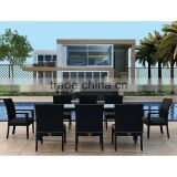 2017 Trade Assurance Display cabinets luxury pvc rattan modular metal garden glass dining table set