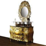Luxury Exquisite Hand Carved Solid Wood Golden Bathroom Cabinet with Sink and Gilt Framed Mirror BF12-05204b