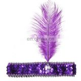 Feather Headband Flapper Sequin Costume Hair Band Headpiece Fancy Dancing Party