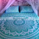 Indian Mandala Sea Green Duvet Cover Ethnic Quilt Covers Hand Screen Printed Doona Cover Blanket With Pillow Cover