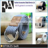 BT0635 Fashion Double D-ring Jeans Belt Fabric Canvas Belt for Men