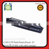 CAT.6 48 Port UTP Dual IDC Patch Panel with cable management