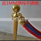 Gold Braided Rope Barrier Pole With Velvet Rope For Crowd Control