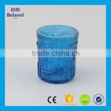 Manufacture embossed blue candle jar home decorative glass candle jar                                                                                                         Supplier's Choice