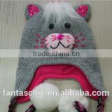 High Quality Custom cute animal acrylic knitted winter hat with pom poms for kid