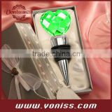 Chrome Bottle Stopper with Crystal Heart Wedding Favors in gift box, many color for choice