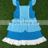 fashion design girls boutique frock sleeveless girls dress with ruffle side comfortable cotton fabric persnickety girls skirt