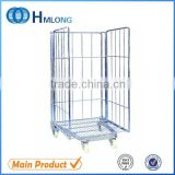 Logistic warehouse insulated foldable steel wire roll cage trolley