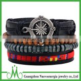 Best selling products in europe charm leather bracelet with compass jewelry wholesale red hemp rope bracelet