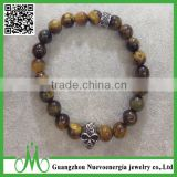Wholesale Stock 8mm Tiger Eye Gemstone Bead Stretch Bracelet Skull Buddha Bracelet