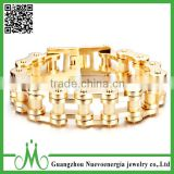 Custom stainless steel gold bicycle chain bracelet for men