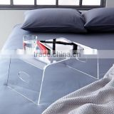 customized clear acrylic bed tray table,small n shape bridge desk,coffee table