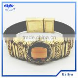 2014Skinny Brown Leather Gold-Tone and Rhinestone Triple Wrap Bracelet