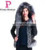 2015 Winter New Design Women Short Embroidered Slim Fit Leather Jackets With Silver Fox Fur Hat Overcoat