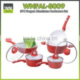 Best quality wooden,silicone handle cookware forged cookware set with ceramic coating and soft touch handle