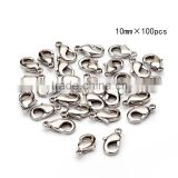 TOP Quality 10mm/12mm Imitation Rhodium Plated Jewelry Lobster Claw Clasp Findings 100pcs per Bag for Jewelery Making