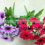 artificial silk bundle chrysanthemum flowers with leaves