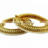 Indian Ethnic Jewelry Polki Bollywood Gold Tone Bangles Bracelets Pearl Set