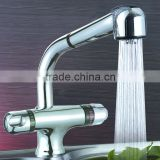 High Quality & Luxury Brass Thermostatic Kitchen Faucet, Deck Mounted, Chrome Finish, Pull Out Shower Head