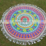 Round Mandala Beach Throw Hippie Tapestry Roundie Yoga Mat Cotton Tapestry Wall Hanging Decorative Table Cover