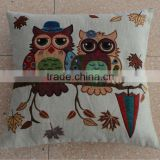 jacquard cushion polycotton cushion with filling for home &hotel decoration &promotion&gift in owl design-autumn