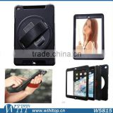 360 Rotating Heavy Duty Rugged Hybrid Armor Case for iPad Air Air 2, with Touch Screen, Leather Hand Strap