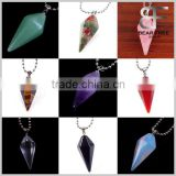 Crystal Rose Quartz Opal Agate Tiger's eye Unakite Amethyst Hexagonal Cone Healing Point Chakra Pendulum Gems Necklace Pendant                                                                         Quality Choice