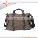 Unisex plain leather and canvas tote bags wholesale tote bags with shoulder strap
