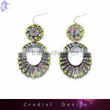 2014 Hot Sale Wholesale Cheap Simple Design Jewelry Fashion Multi Color Rhinestone Earrings For Bridal Jewelry
