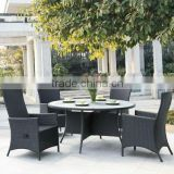 restaurant hotel garden use round table with 4 chairs outdoor rattan dining room funiture