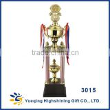 Hot sale plastic base high-end sports awards trophies basketball souvenirs tower metal golden trophies 3015ABC china trophy